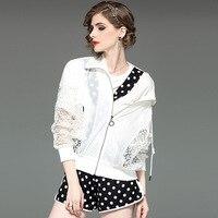 Jacket Summer Coat Women 2019 New Zipper Sun Protection Clothing Fashion Long Sleeve Lace Stitching Jackets Female