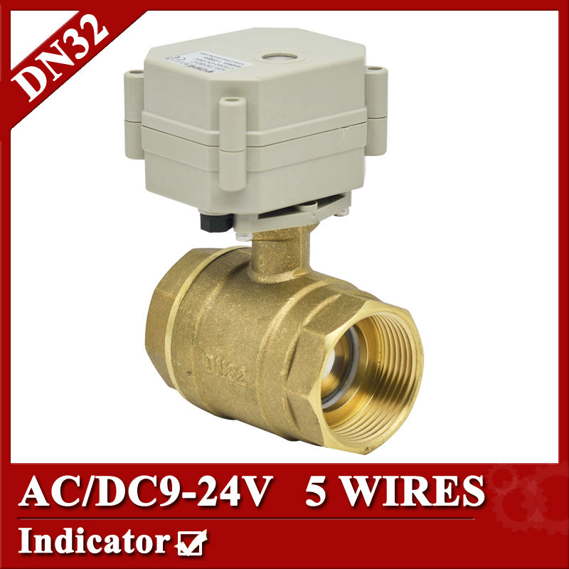 1 1/4 Brass electric ball valve 2 way, DN32 motorized valve 5 wires, AC/DC 9V to 24V electric valve with position feedback 1 2 ss304 electric ball valve 2 port 110v to 230v motorized valve 5 wires dn15 electric valve with position feedback