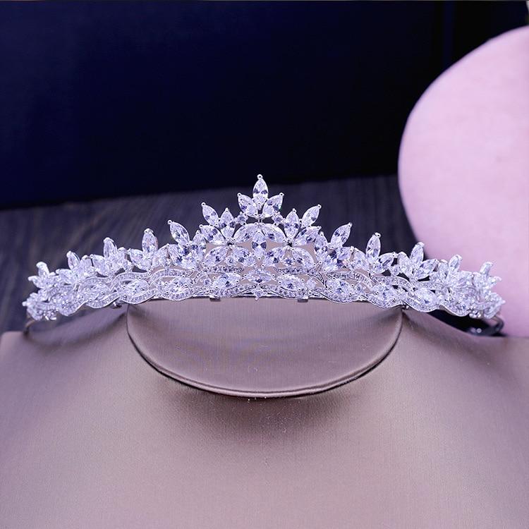 New Fashion font b luxury b font Paved crystal Crown Cubic Zircon flowers Tiaras font b