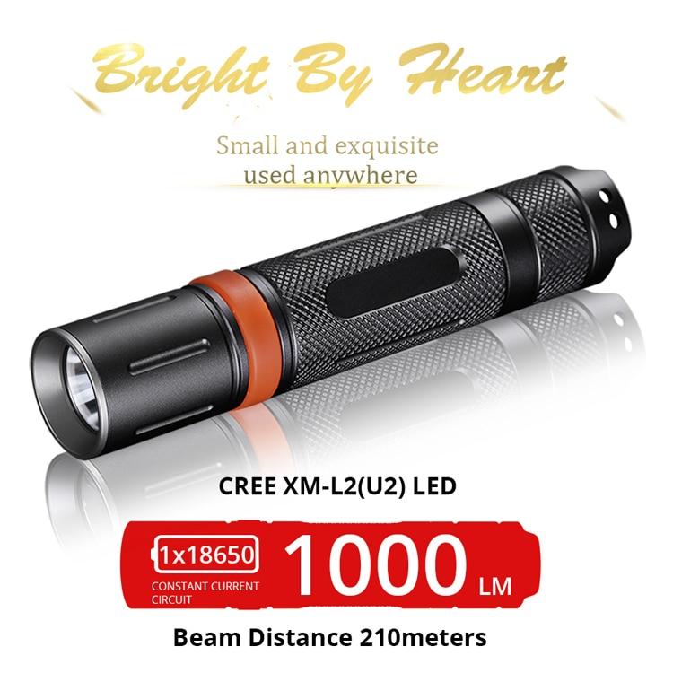 diving 2M flashlight led torch CREE XM-L2 led flashlight OP reflector Powerful LED Flashlight 18650 Cree XPL2 1550lm High torch aluminum smooth flashlight reflector silver