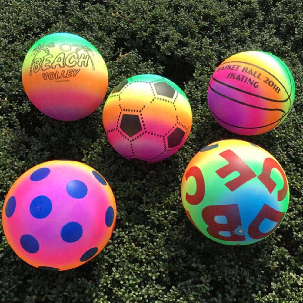 Colored Rubber Rainbow Inflated Ball Balloons Football Toy For Kid Children Swimming Pool Outdoor Play Water Game Beach Toy DS19 image