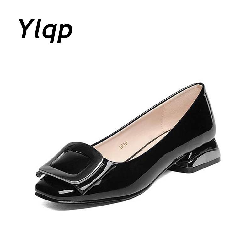 Leather Ballet High Heel Women Shoes Slip On Loafer Casual Female Work Pumps Ladies Designer Brand 35-43 zapatos mujer 2016 spring designer women shoes 6 colors thick heel patent leather slip on pumps brand designer quality dress shoes with buckle