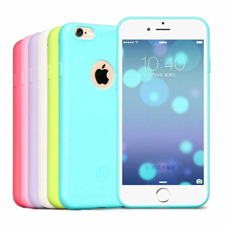 Permen Warna Matte Kulit Case untuk iPhone 6S 7 Karet TPU Soft Back Cover untuk iPhone 6 6S 7 PLUS 5 5S SE Soft Case Topias