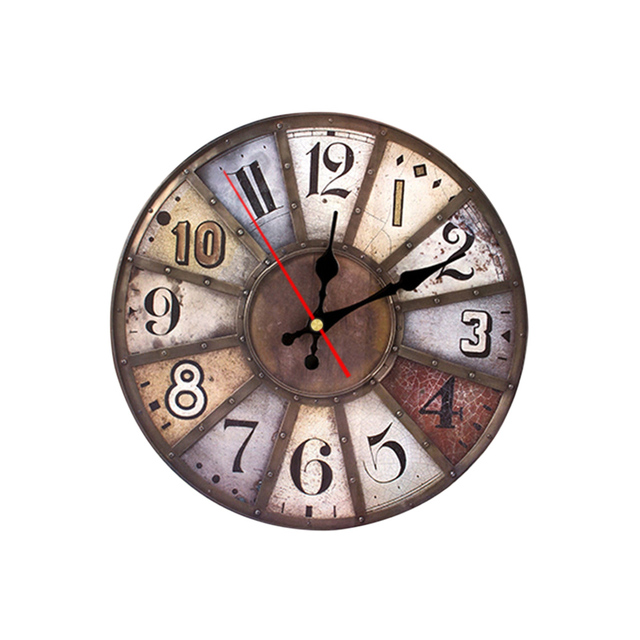 11.8in Antique Wooden Wall Clock Artistic Silent Retro European Round Vintage Rustic Wall Clock for Home Bedroom Decoration