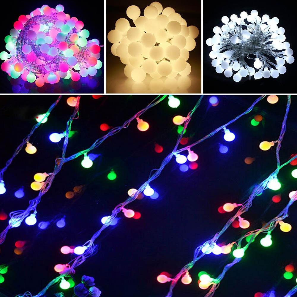 10m 100 led globe string lights warm white white ball fairy light for party christmas wedding. Black Bedroom Furniture Sets. Home Design Ideas