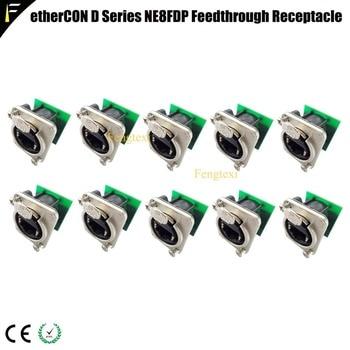 10pcs/lot Pro Audio Video Network Connector NE8FDP Ethercon RJ45 Feedthru D Series Jack Chassis Panel Mount Connector