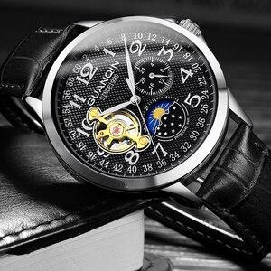 Image 5 - 2019 mode GUANQIN Herren Uhren Top Brand Luxus Skeleton Uhr Männer Sport Leder Tourbillon Automatische Mechanische Armbanduhr
