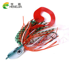 Hengjia 1 pçs cabeça de gabarito luminoso 20g 40g 60g 80g 100g 120g metal chumbo isca mar pesca enfrentar a isca dura com saia macia