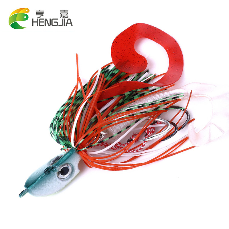 HENGJIA 20G <font><b>40G</b></font> 60G 80G 100G 120G 150G <font><b>Jig</b></font> Head <font><b>Metal</b></font> Lead Bait Sea Fishing Tackle Hard Bait With Soft Skirt image