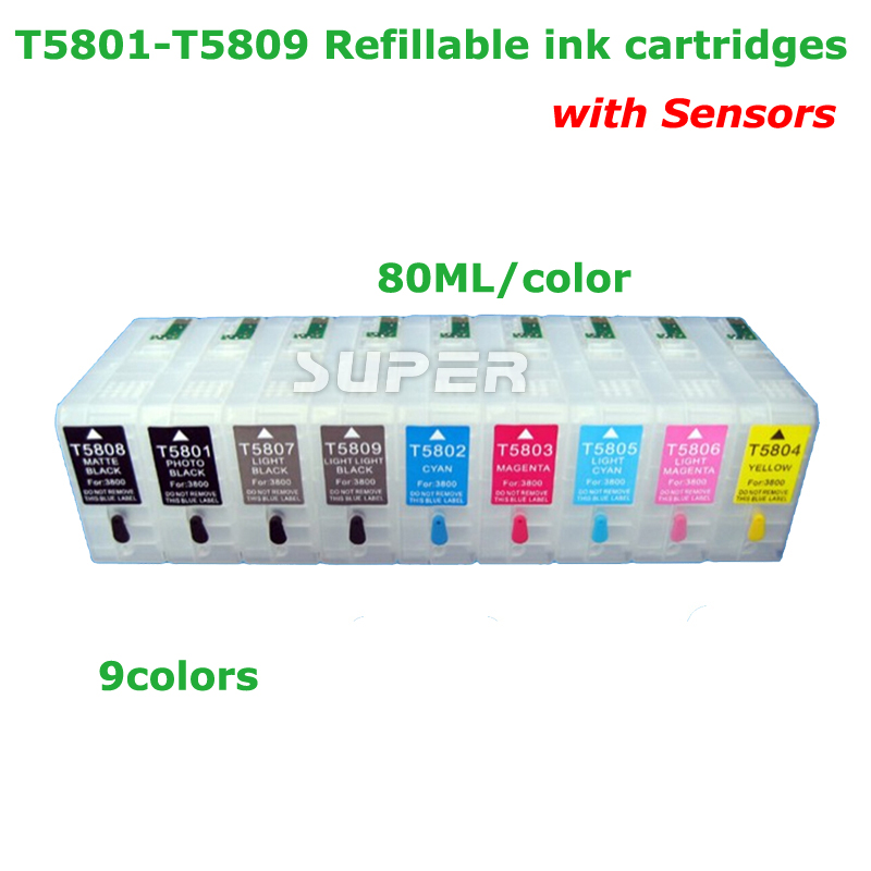 80ML T5802 Refillable ink cartridge for epson 3880 3800 3805  for epson t5805 ink cartridges with senors 9-color-set 11color refillable ink cartridge empty 4910 inkjet cartridges for epson 4910 large format printer with arc chips on high quality