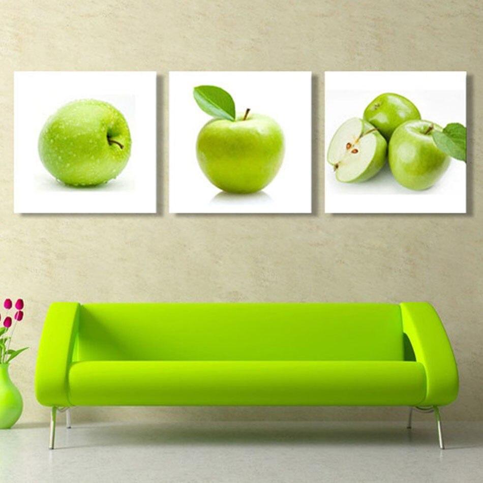 Unframed 3pcs Green Apple Modern Kitchen Home