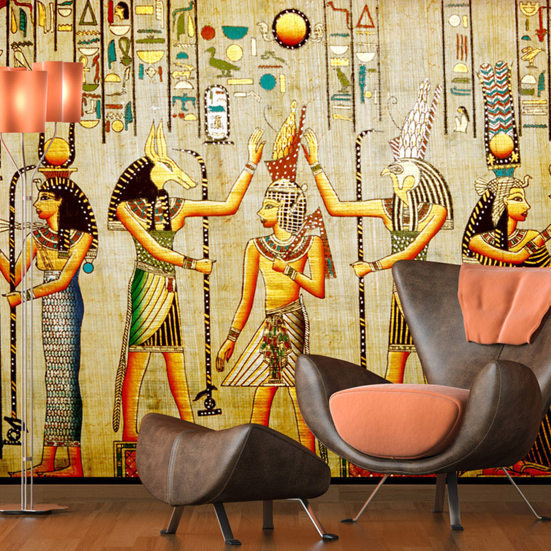 Custom 3D Wallpaper Mural Living Sofa Background Wall Mural European Retro Painting Egyptian Pharaoh Photo Wall Paper Coverings