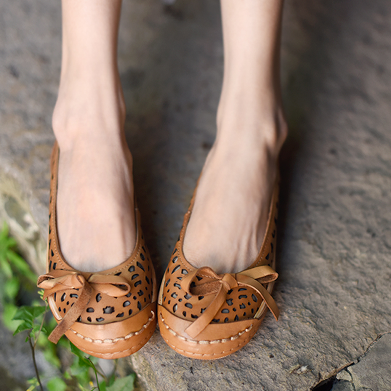 A2336 Creux apricot Véritable Artmu Confortable Papillon Plates Sandales 6 Cuir Semelle Souple Original Casual Vintage Femmes noeud Chaussures Green En aEwqxHrEO