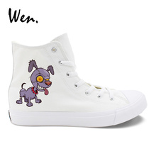 Wen Boy Girl's Shoes White High Tops Zombie Style Dog Puppet Design Canvas Sneakers Casual Espadrilles Flat Zapatos Zapatillas