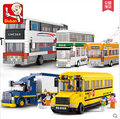 Новый Sluban Школы Городской Автобус Серии Двухэтажный автобус грузовик детские игрушки подарочный набор Строительных Блоков