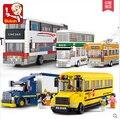 Nuevo sluban serie de la ciudad autobús de dos pisos autobús escolar camión contenedor niños conjunto de juguete de regalo edificio bloquear