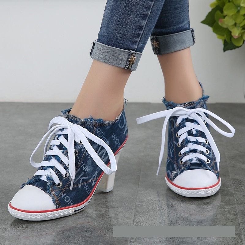 High Quality New 2018 Womens Shoes Denim High Heels 8CM Autumn Canvas Shoes Women Hot Sale Roma Women Pumps Large Size 34-40High Quality New 2018 Womens Shoes Denim High Heels 8CM Autumn Canvas Shoes Women Hot Sale Roma Women Pumps Large Size 34-40