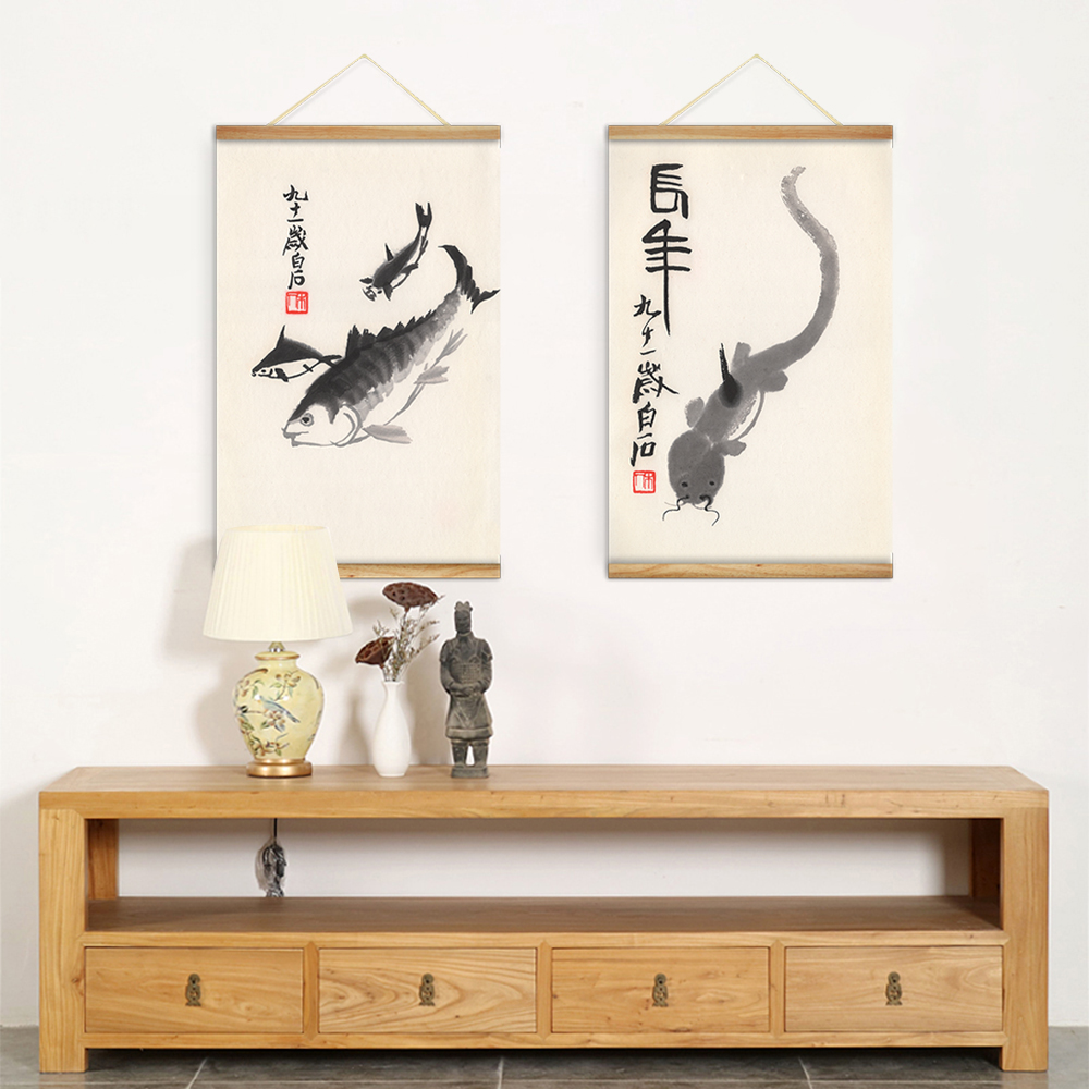 2 pieces chinese qi baishi ink animals fish decoration wall art 2 pieces chinese qi baishi ink animals fish decoration wall art pictures hanging canvas wooden scroll paintings for living room in painting calligraphy amipublicfo Choice Image