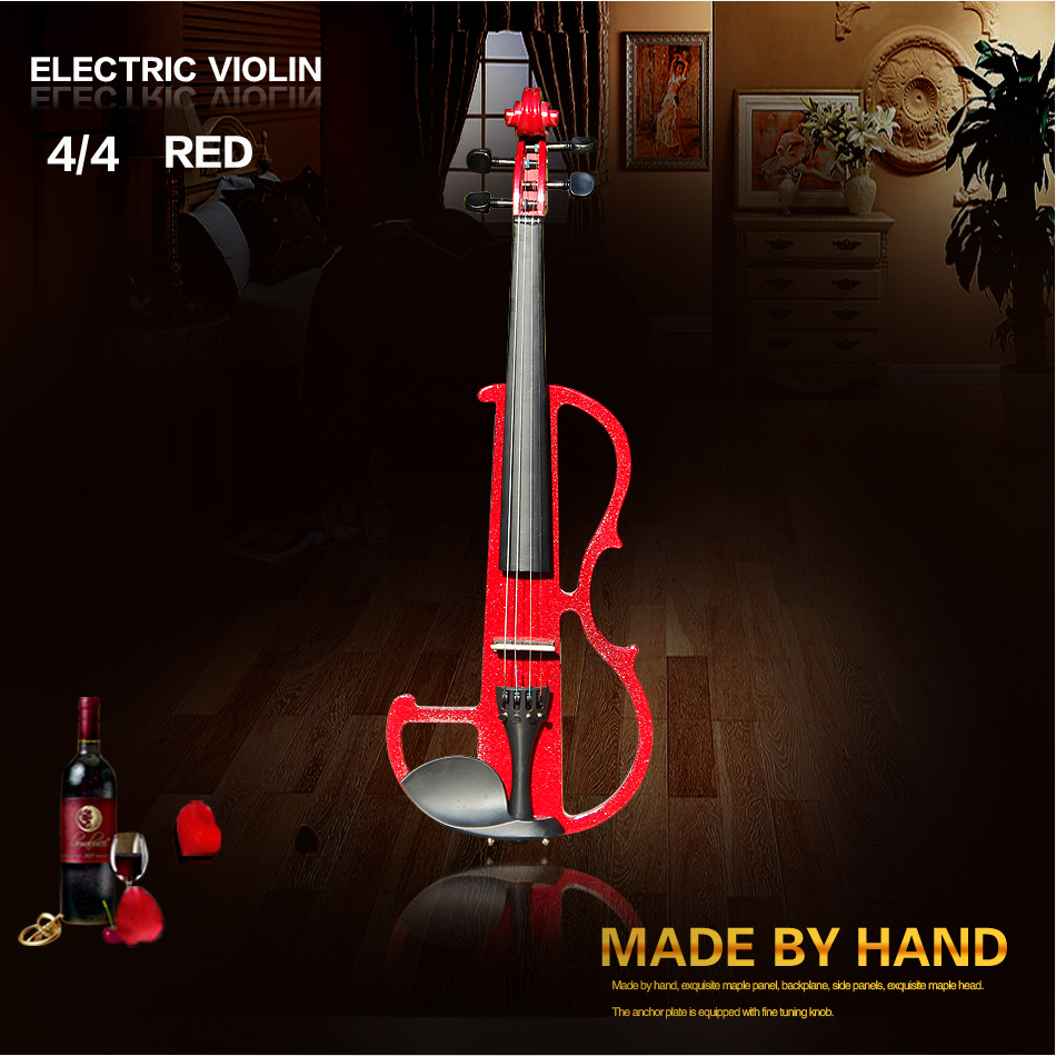 Dark red 4/4  violin Send violin Hard case, Handmade electric violin with power lines and violin parts transparent 4 4 violin led light send violin hard case electric violin with colorful power lines and violin parts for lover