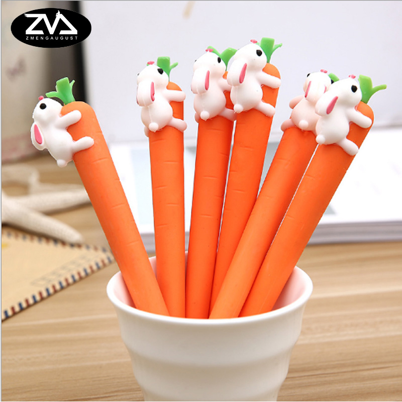 1X kawaii Creative Rabbit eating carrots gel pen  Neutral pen stationery material escolar office school supplies Free shipping on eating