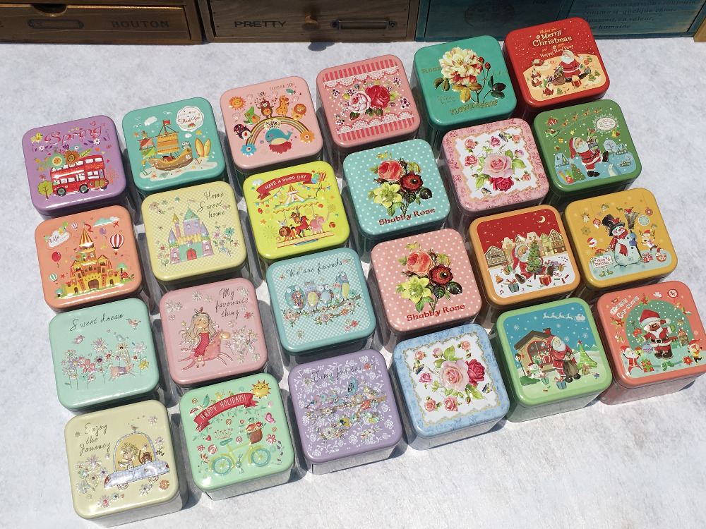 10pcs/lot Square Metal Wedding Gift Tin Cases Decorative Candy Sweety Storage  Bins Jewelry Container