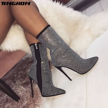 TINGHON  New Autumn Winter Glitter Shoes Woman Chelsea Boots Sexy Pointed Toe 11cm Thin High Heels Ankle Boots Women Silver new women ankle boots high heels pointed toe winter boots with fur black shoes woman high heels sexy winter boots women b 0195