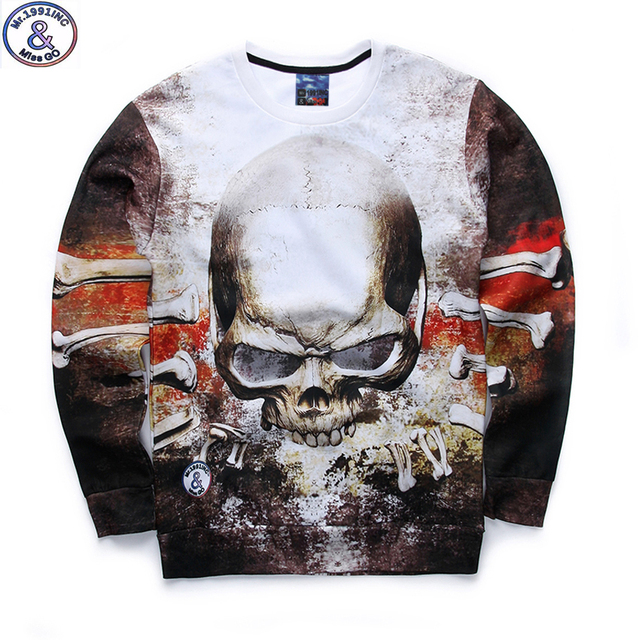 Mr.1991 brand 12-18 years big kids sweatshirt boy youth fashion 3D skull head printed hoodies jogger sportwear teens boys W17