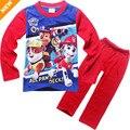 Venda quente 3-8 Anos das Crianças Pijamas de Manga Longa Conjunto de Roupas para Crianças Meninos Moda Dos Desenhos Animados Pata Patrulha Desgaste Casa Pijamas PJS