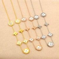Hot Sale Seven Flowers Gold Color Rose Gold Color Silver Color Titanium Steel Necklace