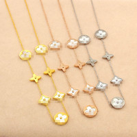 Heißer verkauf sieben blumen gold farbe/rose gold farbe/silber farbe titanium stahl halskette