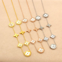 Hot Sale Seven Flowers Gold Color / Rose Gold Color / Silver Color Titanium Steel Necklace
