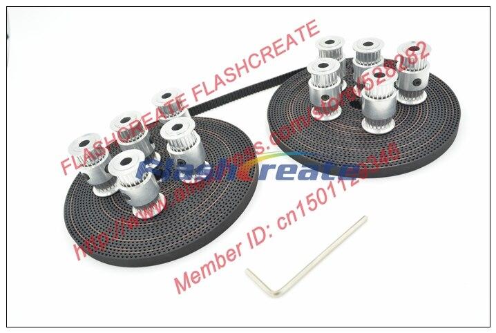 10pcs nouveau 2GT type de poulie de distribution double tête 20 dents alésage 5mm + 10 mètres 2GT largeur de courroie de distribution 6mm pièces d'imprimante 3D