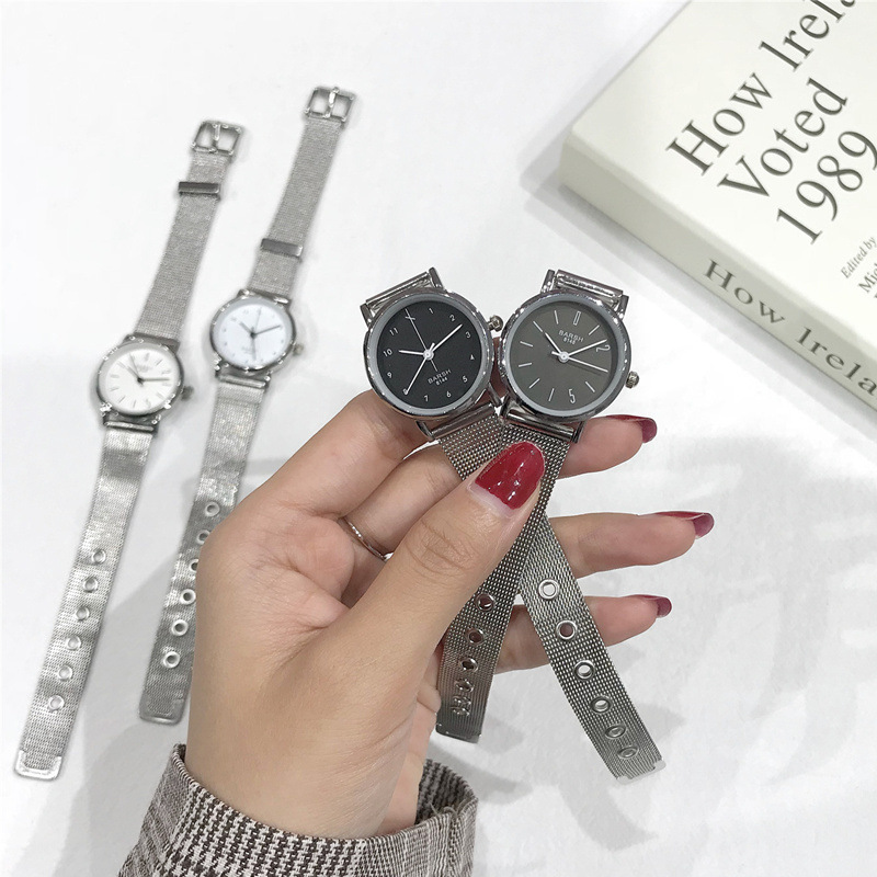 Fashion Quartz Creative Watch Women Minimalist Design Female Wristwatches Stainless Steel Mesh Strap Simple Woman Clock