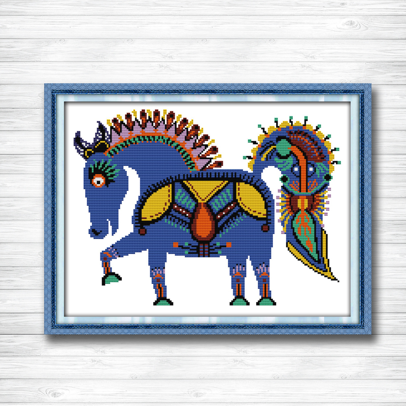 The happy horse decor picture counted print on canvas DMC 14CT 11CT DMS Cross Stitch diy chinese Embroidery kits Needlework Sets image