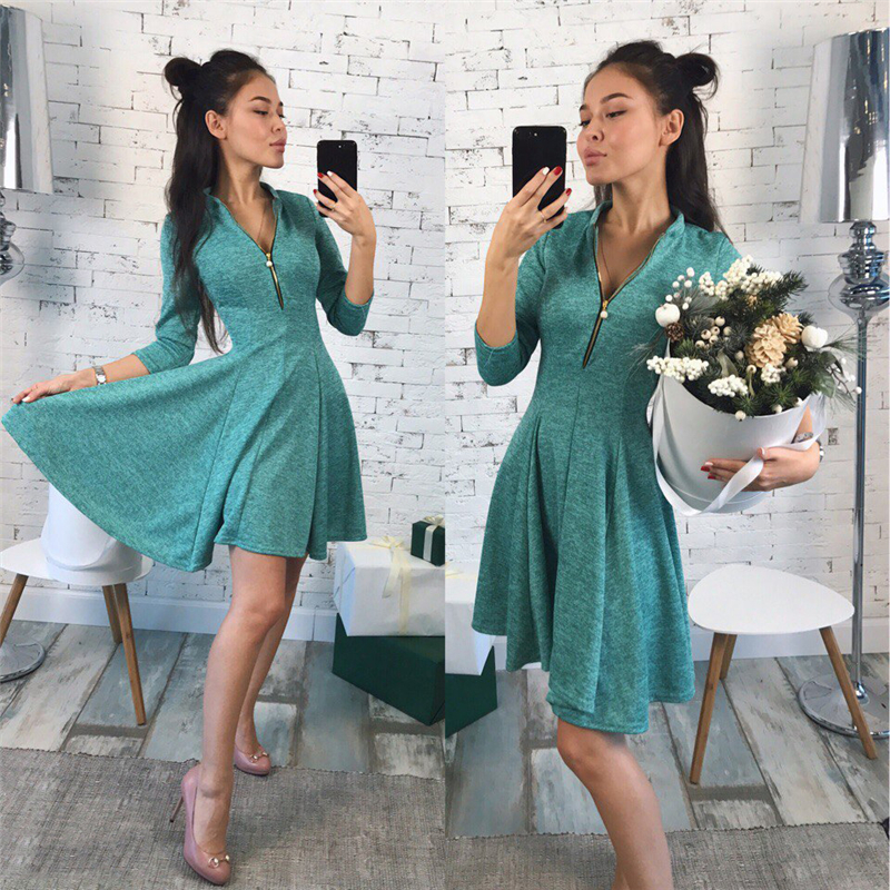 2019 Autumn Fashion Women Dress Solid Pleated V-neck Sexy Ladies Dresses Evening Party Bodycon Mini Dress vestidos Bust Zippers