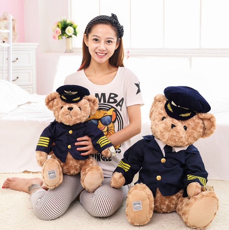 1pc New Cute Pilot Teddy Bear Plush Toy Captain Bear Doll Birthday Gift Kids Toy Baby Doll