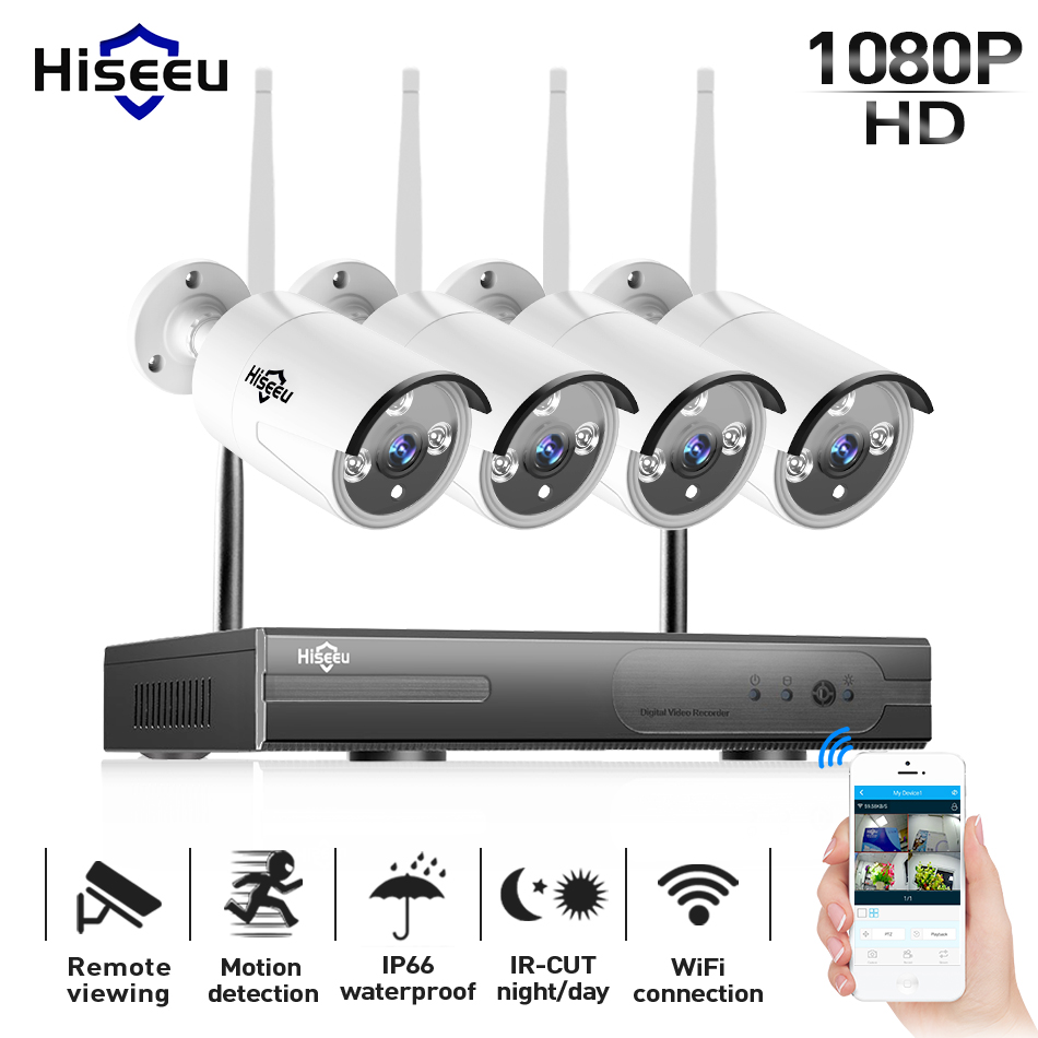 wi-fi ip bullet camera 1080P 4pcs NVR wireless cctv security system kit infrared cam remote viewing by ip pro 1T hdd