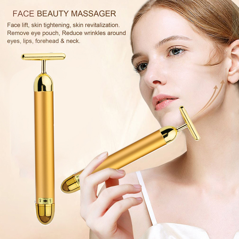 1pcs 24k Gold Face Roller Massager Face Tightening Anti-Wrinkle Electric Massager For Face Beauty Tools Anti Aging Skin Care
