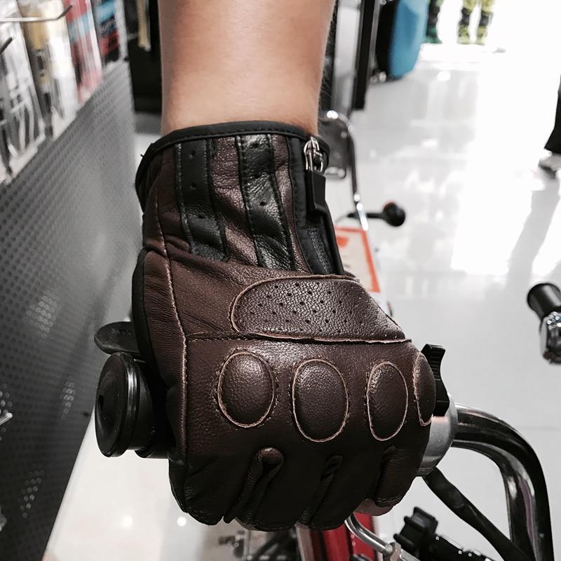 2017 Hot sale biker leather gloves mens leather motorcycle gloves half finger gloves for Retro brown black color M L XL XXL