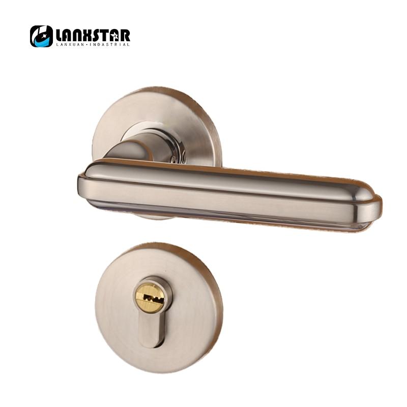 цена на Steel Alloy Stealth Interior Locks European Bedroom Bathroom Livingroom Hardware Door Lock Wooden Door Handles Lock