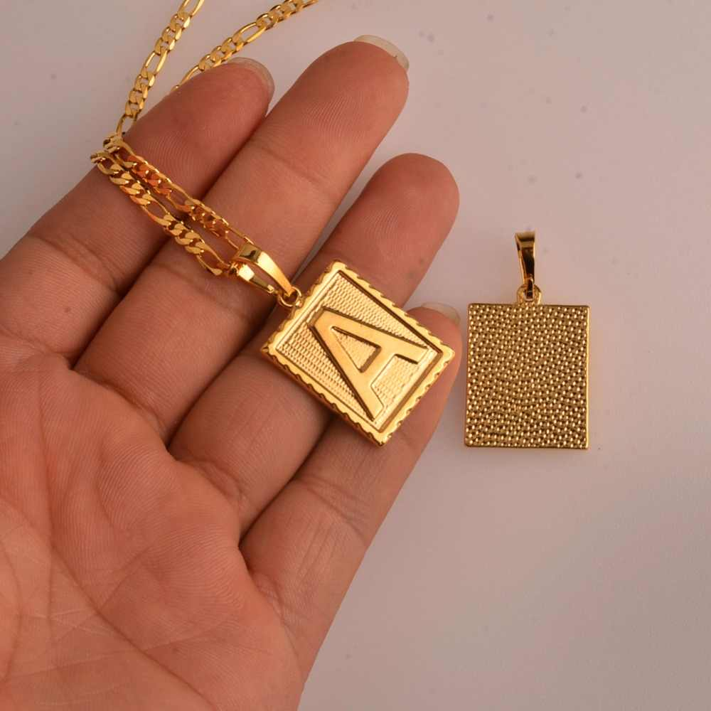 31b3e9f3d022d Anniyo A-Z Square Letters Necklace Gold Color Initial Pendant Chain for Men  Women English Letter Alphabet Jewelry Gifts #104006