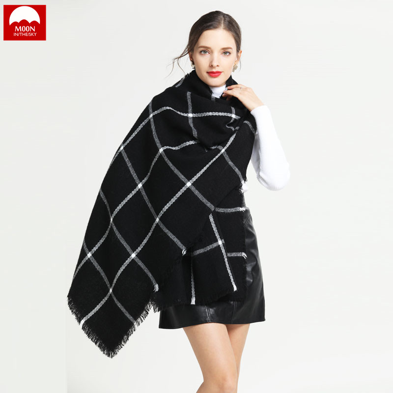 70x200cm MOON IN THE SKY 2018 new style Cashmere Shawl Large Soft & Heavy   Scarf     Wrap   Black and White Plaid for Women   Scarf   Shawl