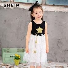 Шеин Kiddie звезда печати сетки трапециевидной формы Flare подросток обувь для девочек вечернее платье 2019 летние детские платья без рукавоводежда