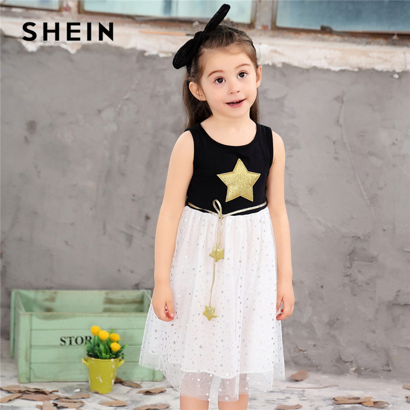 SHEIN Kiddie Star Print Mesh A Line Flare Teenager Girls Party Dress 2019 Summer Sleeveless Kids Dresses For Girls Clothes striped star print irregular dress