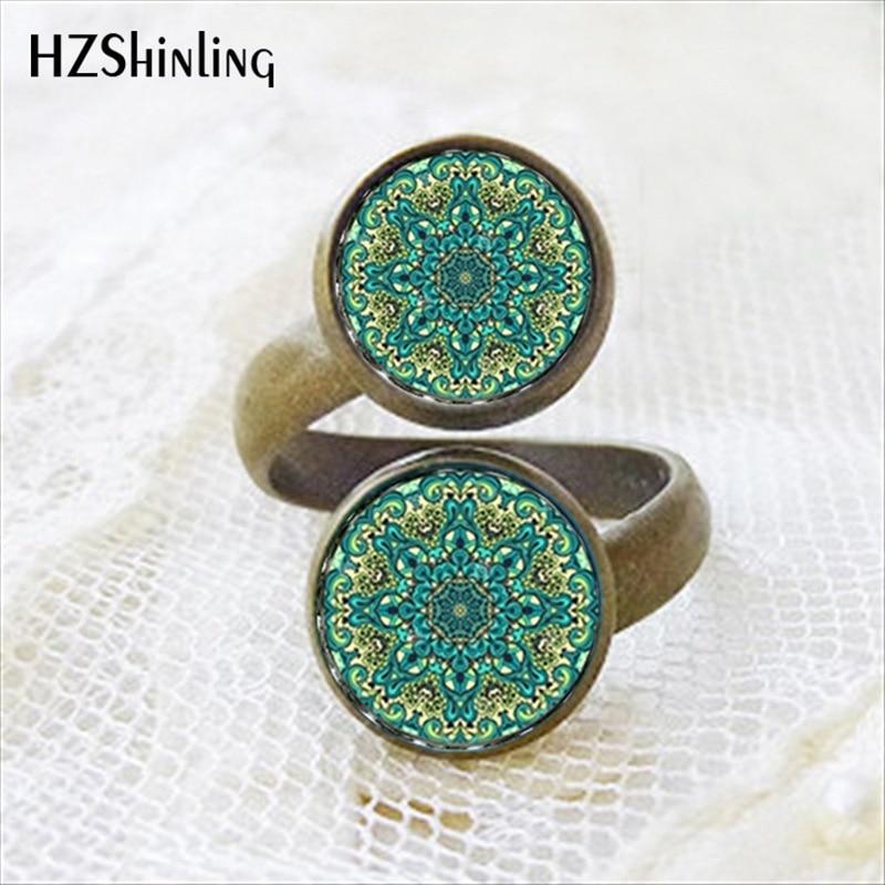 2017 New Arrival Vintage Mandala Two Ball Ring Handmade Glass Dome Yoga om Symbol Symbol