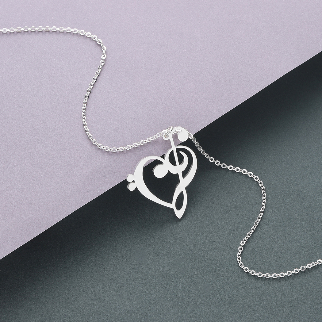 Todorova Music Note Heart of Treble and Bass Clef Necklace Women Infinity Love Charm Pendant Necklace Stainless Steel Jewelry 4