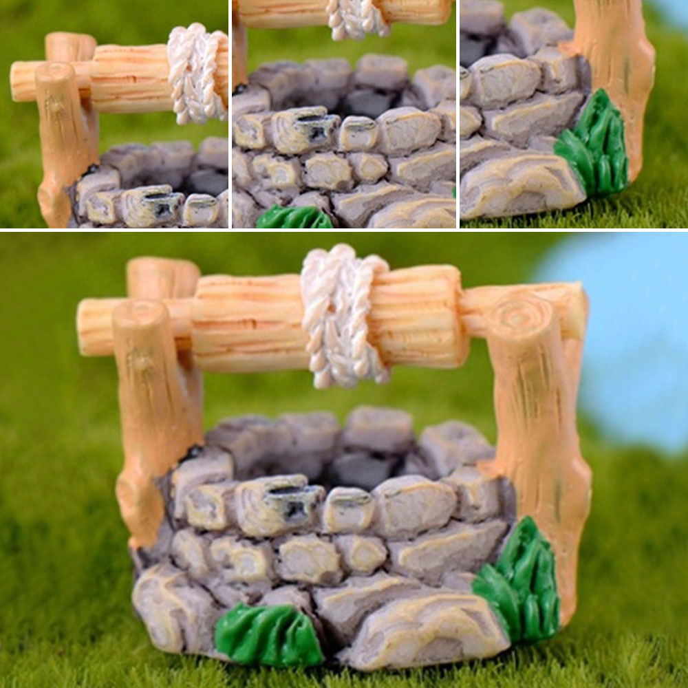 Image 5 - 1pc DIY Garden Miniatures Decorations Vintage House Water Well Multicolour Fairy Garden Party Ornament-in Figurines & Miniatures from Home & Garden