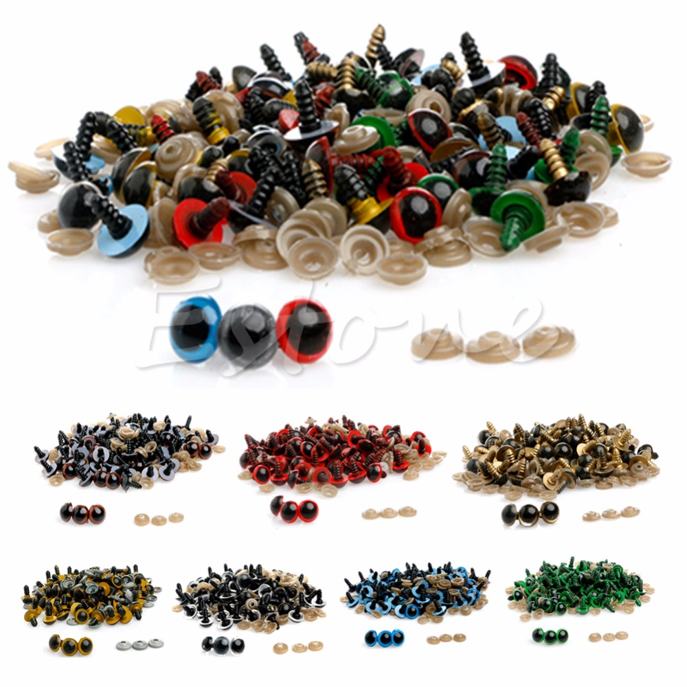 100pcs 10-20mm Plastic Safety Eyes For Teddy Bear Doll Animal Puppet Craft