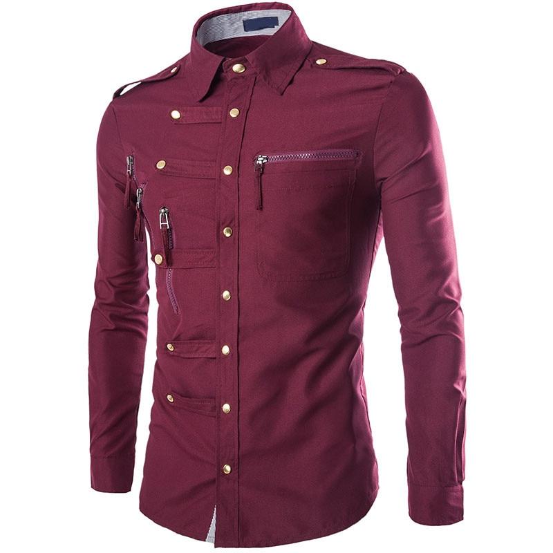 HD-DST 2018 Nowych Moda męska Koszula hot sprzedaż Casual Slim fit Soild kolor Zipper Koszulka