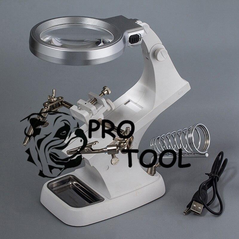 Saldatura lente di ingrandimento LED lente di ingrandimento loupe Alligator Clip Del Supporto Del Morsetto Helping Hand saldatore strumento di Riparazione